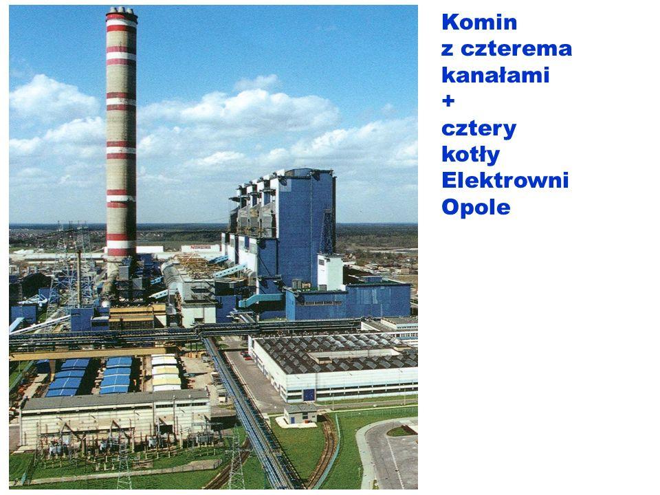 Komin z czterema kanałami + cztery kotły Elektrowni Opole