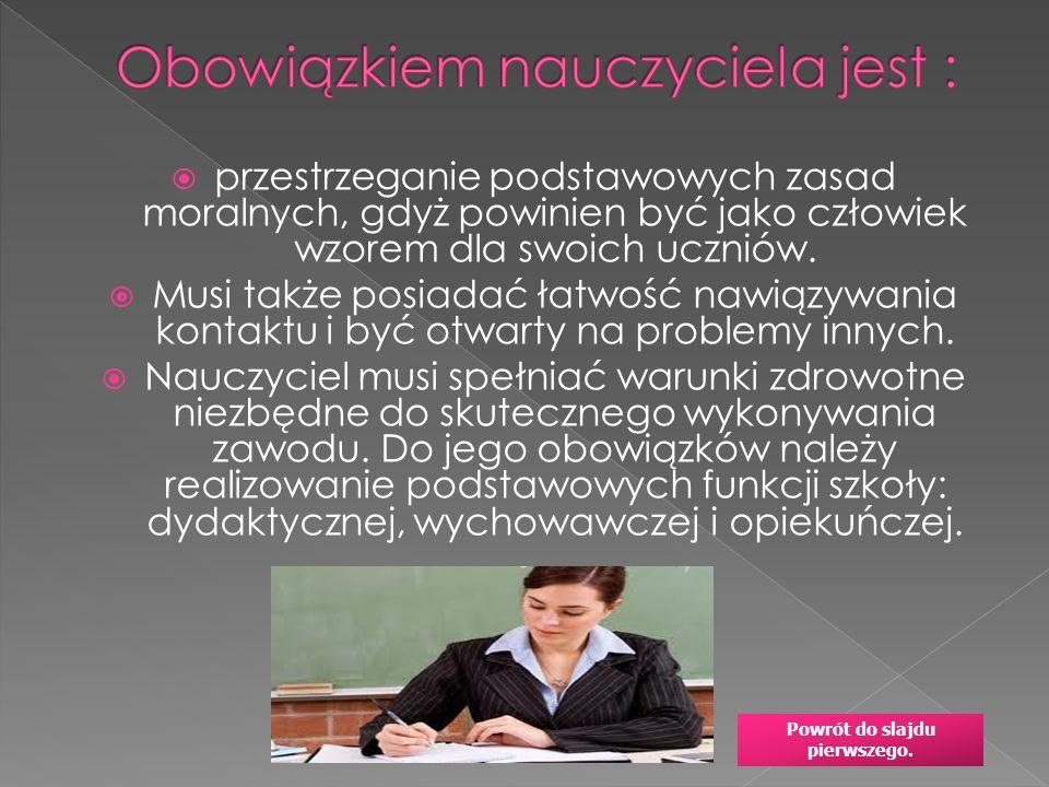 Obowiązkiem nauczyciela jest :
