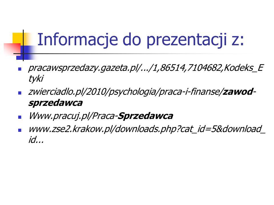 Informacje do prezentacji z: