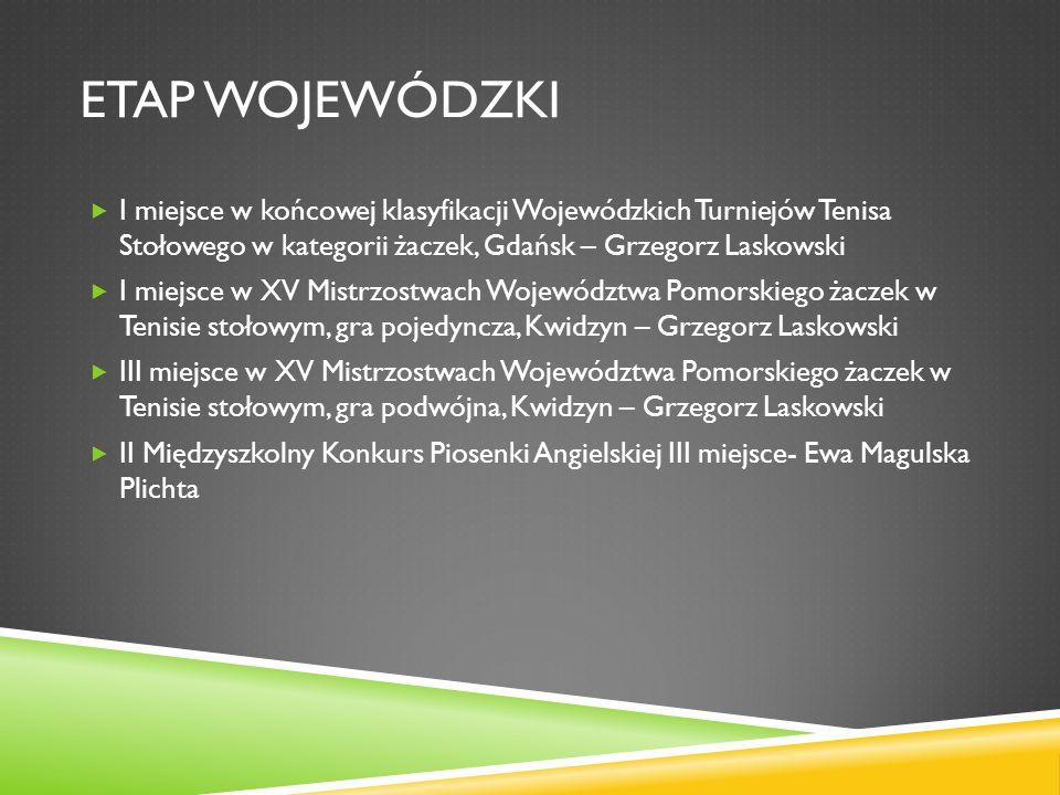 ETAP WOJEWÓDZKI I miejsce w końcowej klasyfikacji Wojewódzkich Turniejów Tenisa Stołowego w kategorii żaczek, Gdańsk – Grzegorz Laskowski.