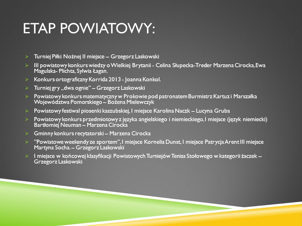 Etap powiatowy: Turniej Piłki Nożnej II miejsce – Grzegorz Laskowski