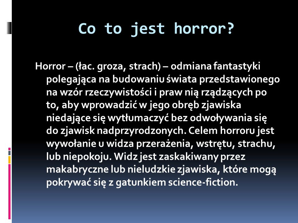 Co to jest horror