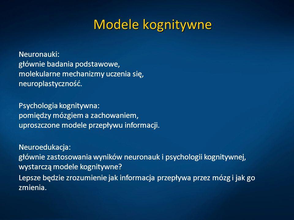 Modele kognitywne Neuronauki: głównie badania podstawowe, molekularne mechanizmy uczenia się, neuroplastyczność.