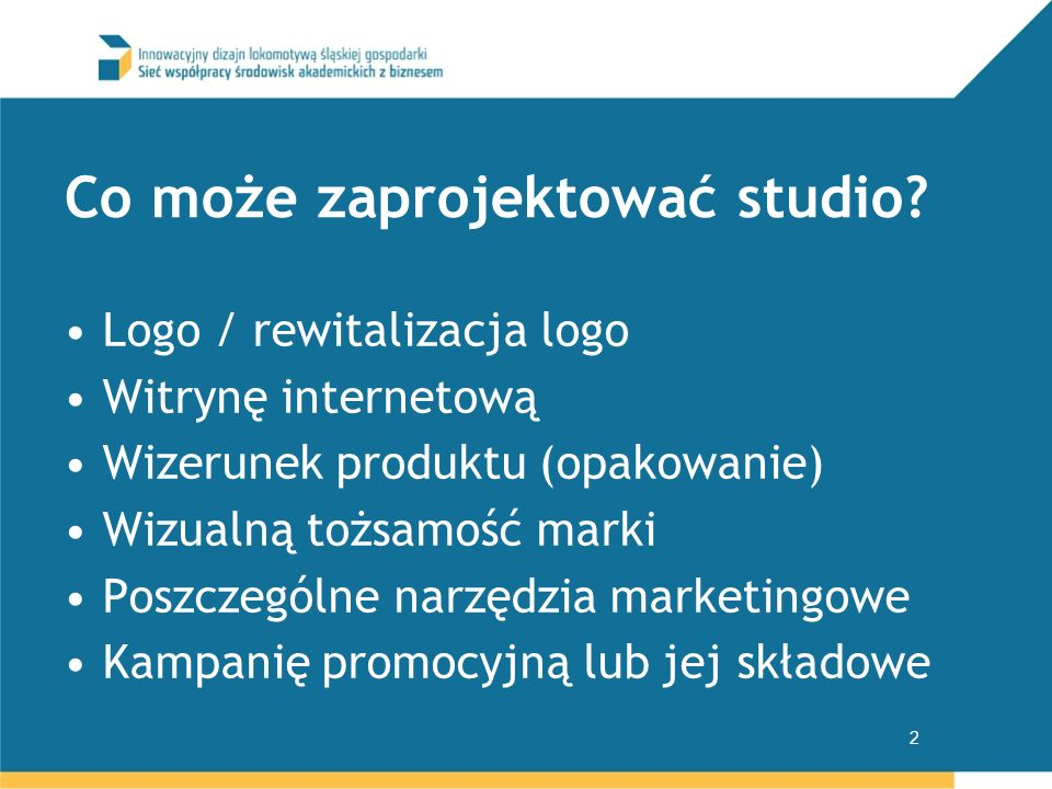 Co może zaprojektować studio