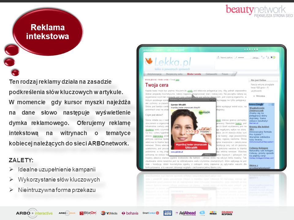 Reklama intekstowa Ten rodzaj reklamy działa na zasadzie podkreślenia słów kluczowych w artykule.