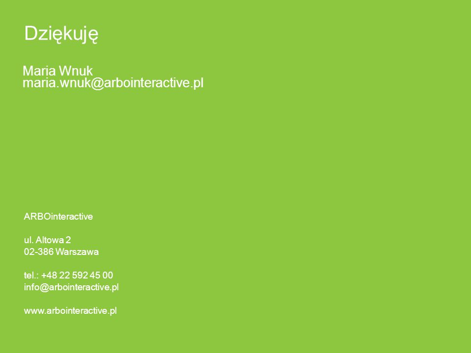 Maria Wnuk maria.wnuk@arbointeractive.pl