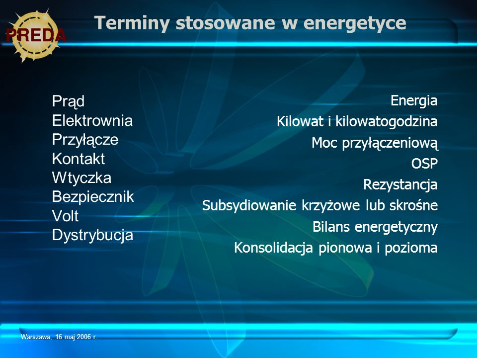 Terminy stosowane w energetyce