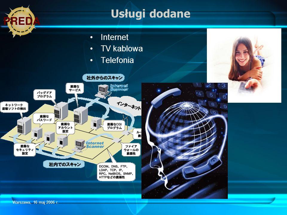 Usługi dodane Internet TV kablowa Telefonia Warszawa, 16 maj 2006 r.