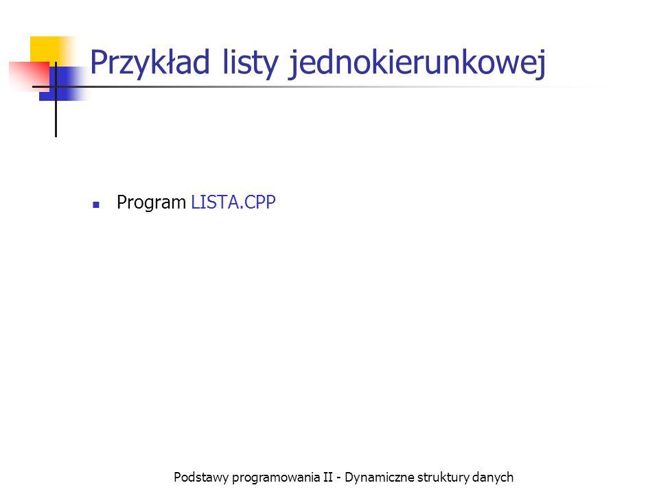 Przykład listy jednokierunkowej