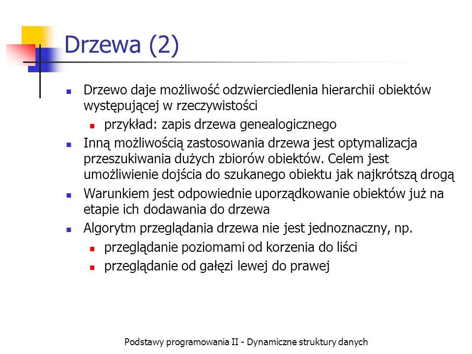 Podstawy programowania II - Dynamiczne struktury danych