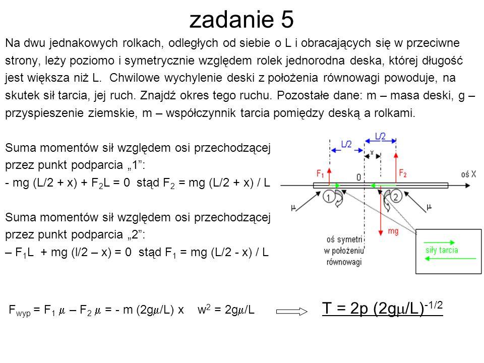 zadanie 5 Na dwu jednakowych rolkach, odległych od siebie o L i obracających się w przeciwne.