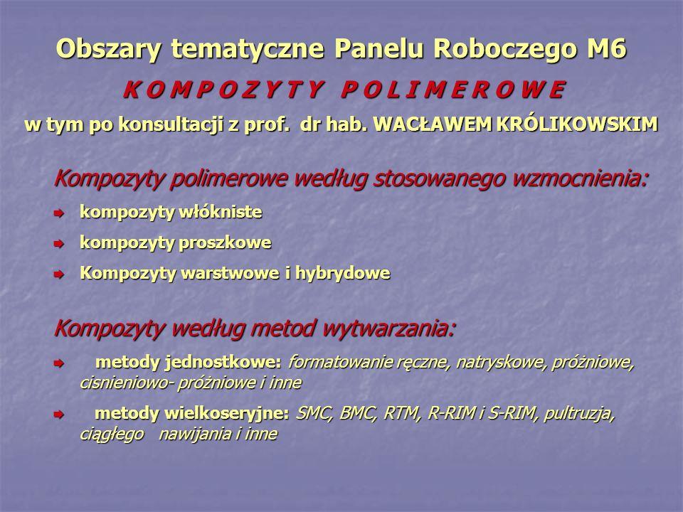 Obszary tematyczne Panelu Roboczego M6 K O M P O Z Y T Y P O L I M E R O W E w tym po konsultacji z prof. dr hab. WACŁAWEM KRÓLIKOWSKIM