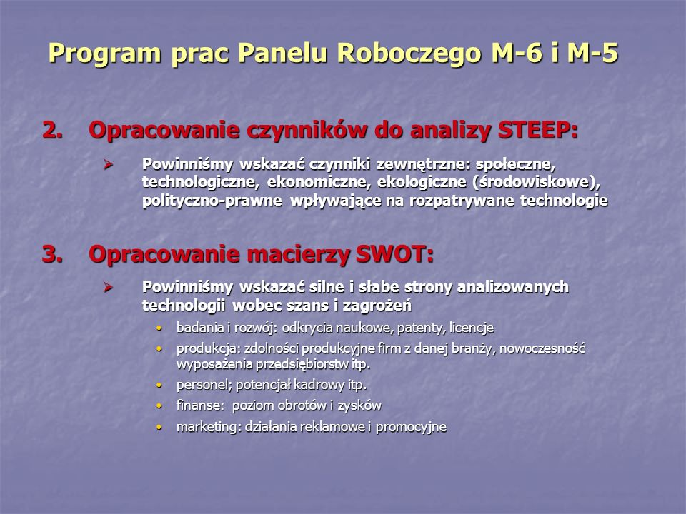 Program prac Panelu Roboczego M-6 i M-5