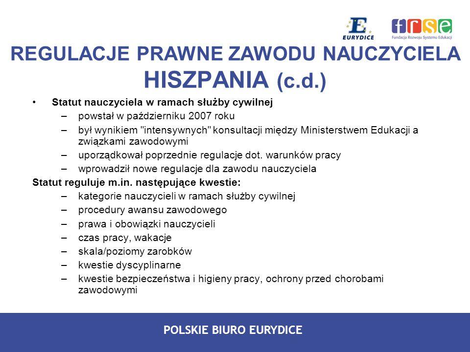 REGULACJE PRAWNE ZAWODU NAUCZYCIELA HISZPANIA (c.d.)