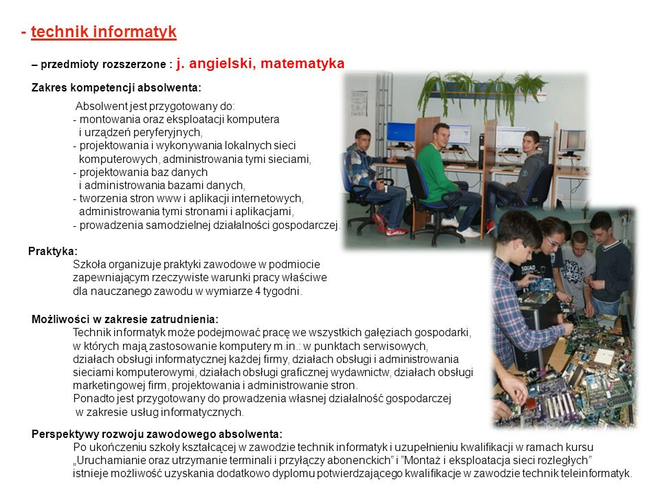 - technik informatyk – przedmioty rozszerzone : j. angielski, matematyka. Zakres kompetencji absolwenta: