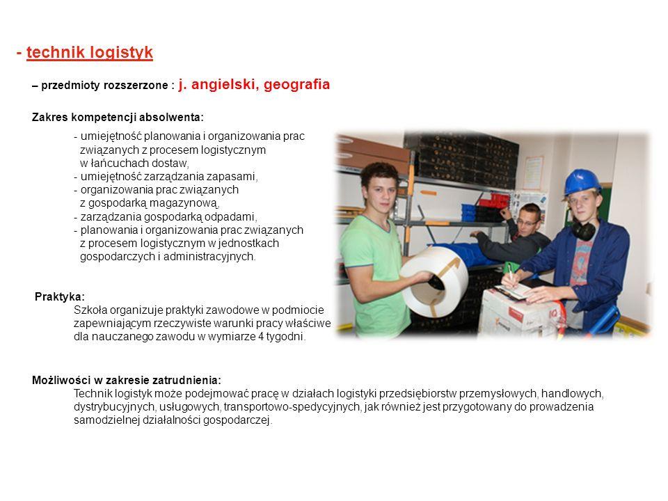 - technik logistyk – przedmioty rozszerzone : j. angielski, geografia
