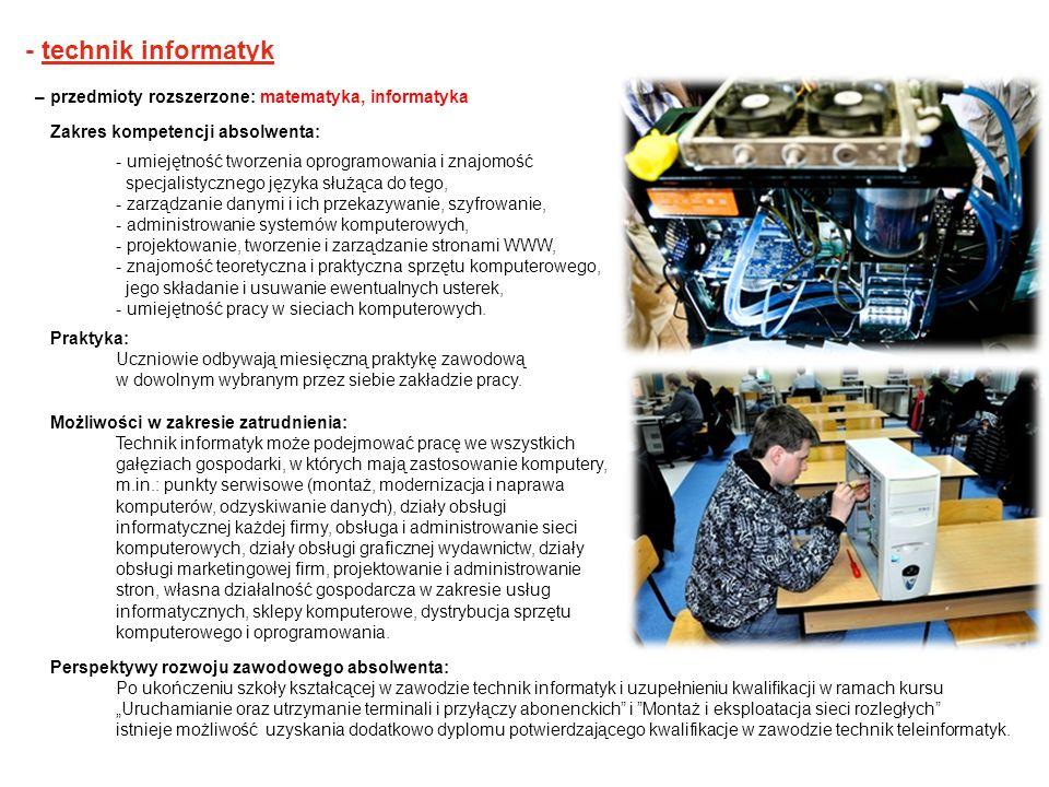 - technik informatyk – przedmioty rozszerzone: matematyka, informatyka