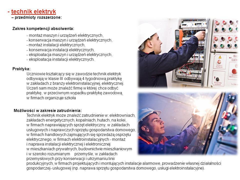 - technik elektryk – przedmioty rozszerzone: