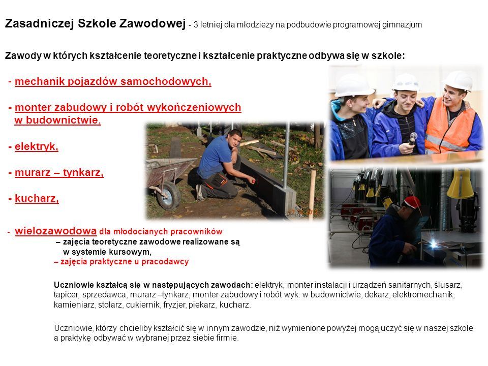 Zasadniczej Szkole Zawodowej - 3 letniej dla młodzieży na podbudowie programowej gimnazjum