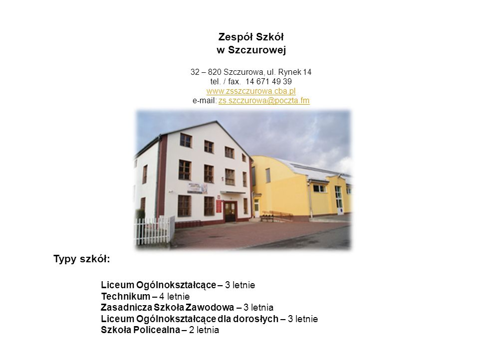 e-mail: zs.szczurowa@poczta.fm