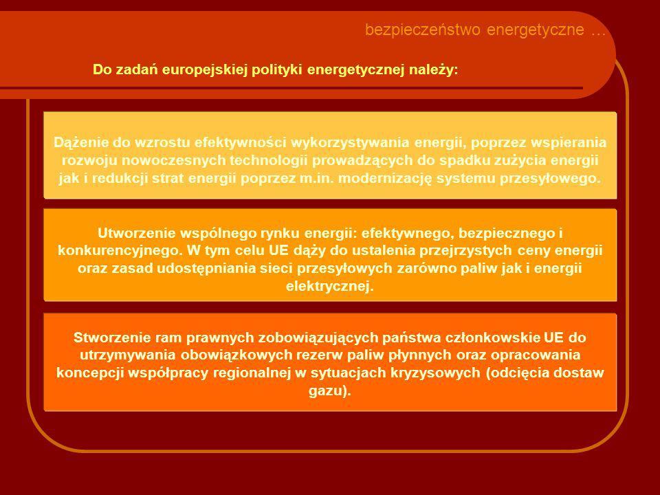 Do zadań europejskiej polityki energetycznej należy: