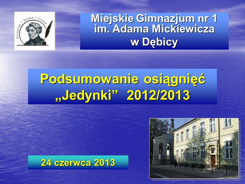 """Podsumowanie osiągnięć """"Jedynki 2012/2013"""