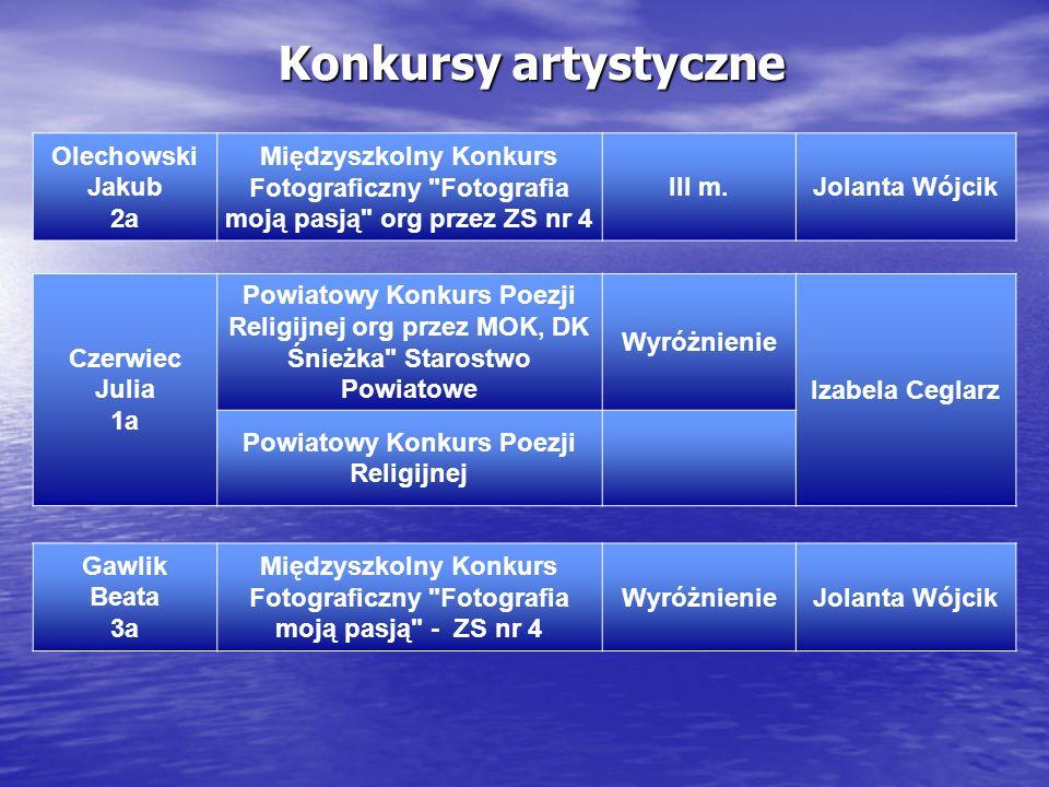 Konkursy artystyczne Olechowski Jakub 2a
