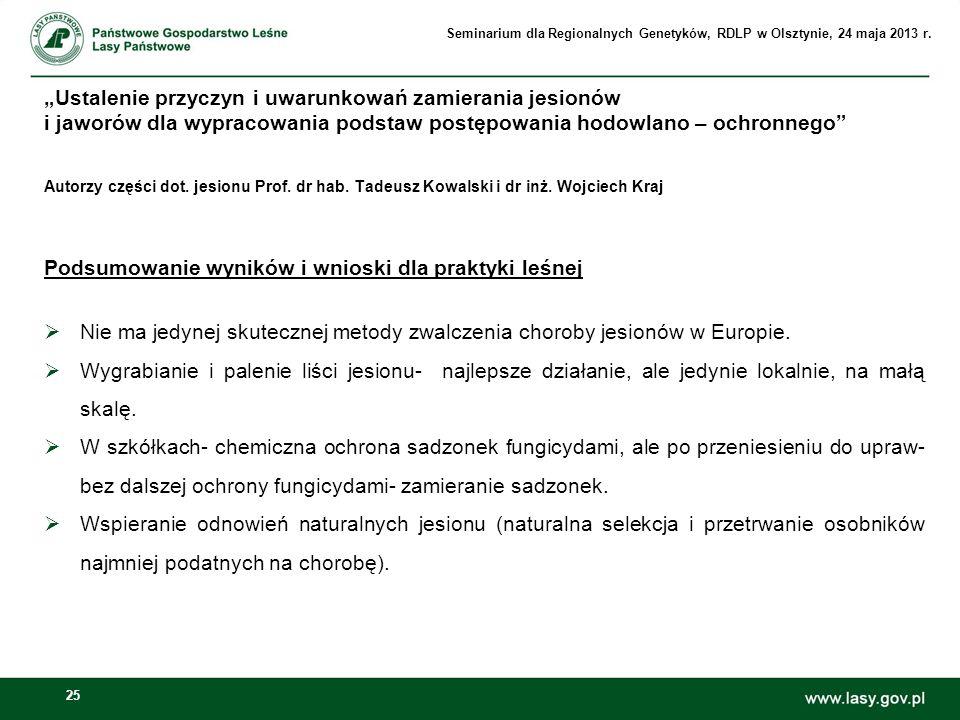 Podsumowanie wyników i wnioski dla praktyki leśnej