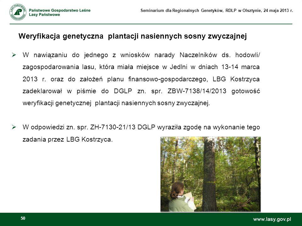 Weryfikacja genetyczna plantacji nasiennych sosny zwyczajnej