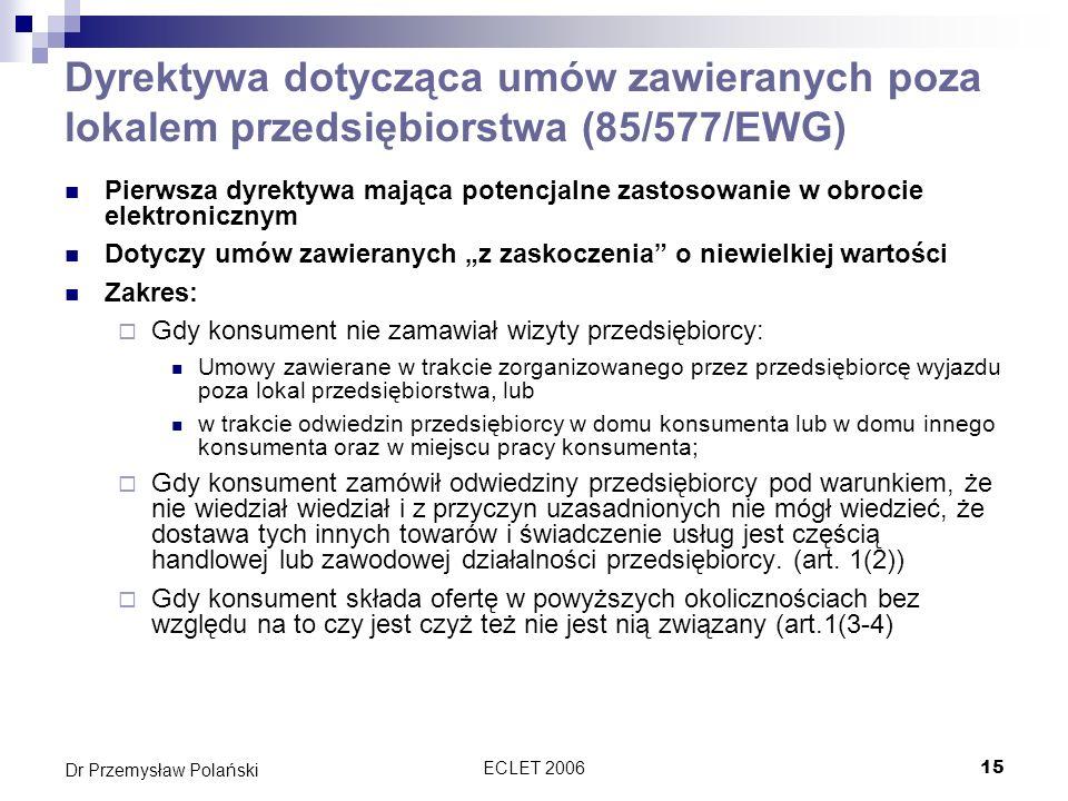 Dyrektywa dotycząca umów zawieranych poza lokalem przedsiębiorstwa (85/577/EWG)