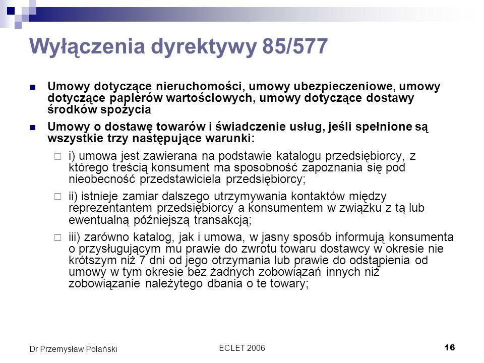 Wyłączenia dyrektywy 85/577