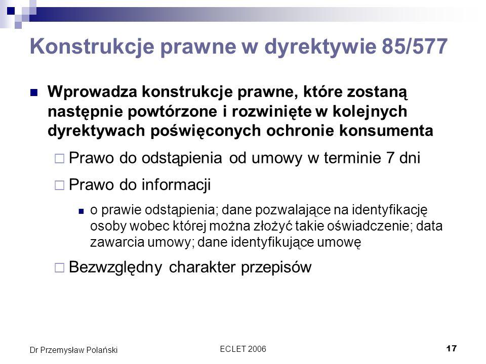 Konstrukcje prawne w dyrektywie 85/577