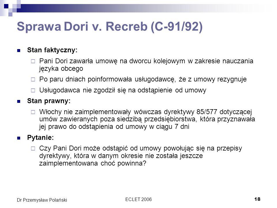 Sprawa Dori v. Recreb (C-91/92)