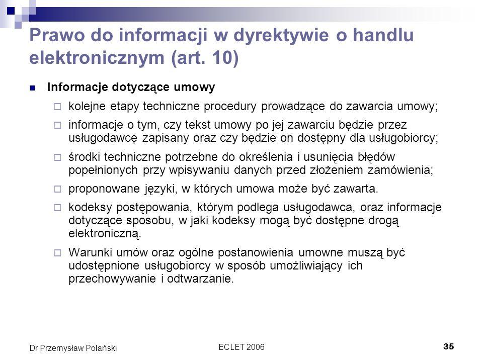 Prawo do informacji w dyrektywie o handlu elektronicznym (art. 10)