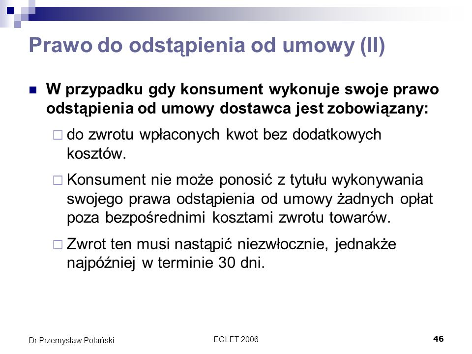 Prawo do odstąpienia od umowy (II)