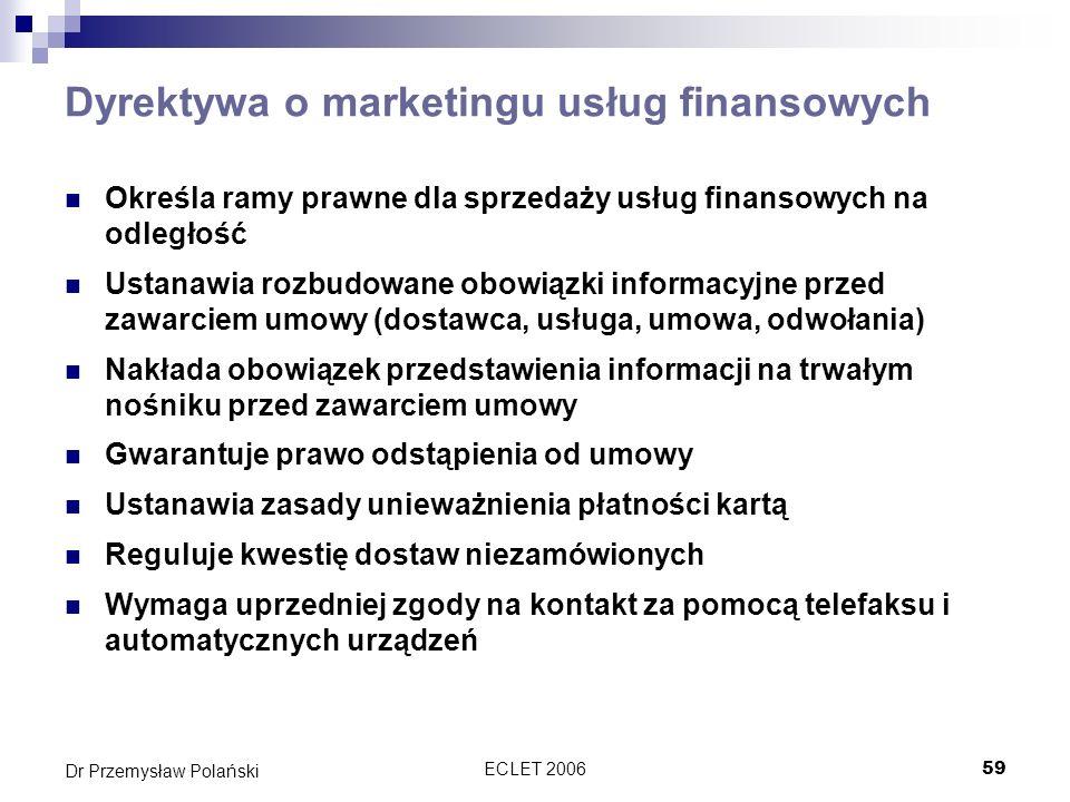 Dyrektywa o marketingu usług finansowych