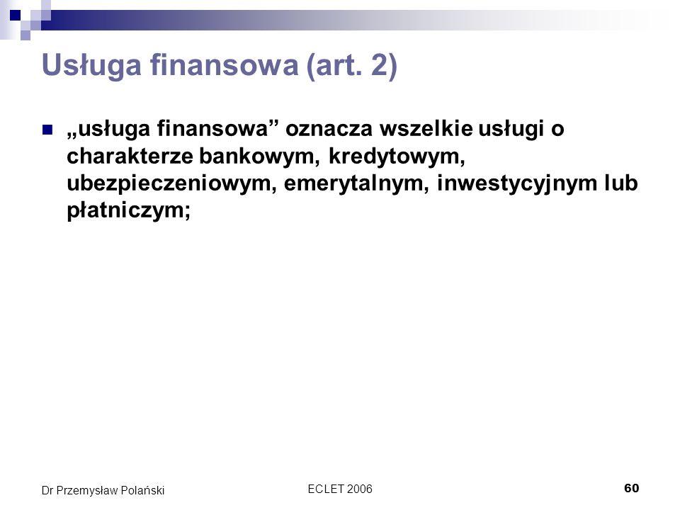 Usługa finansowa (art. 2)