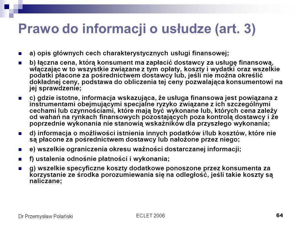 Prawo do informacji o usłudze (art. 3)
