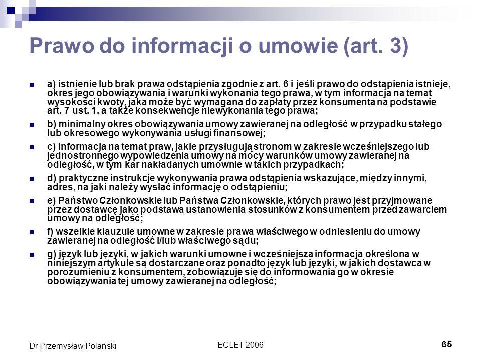 Prawo do informacji o umowie (art. 3)