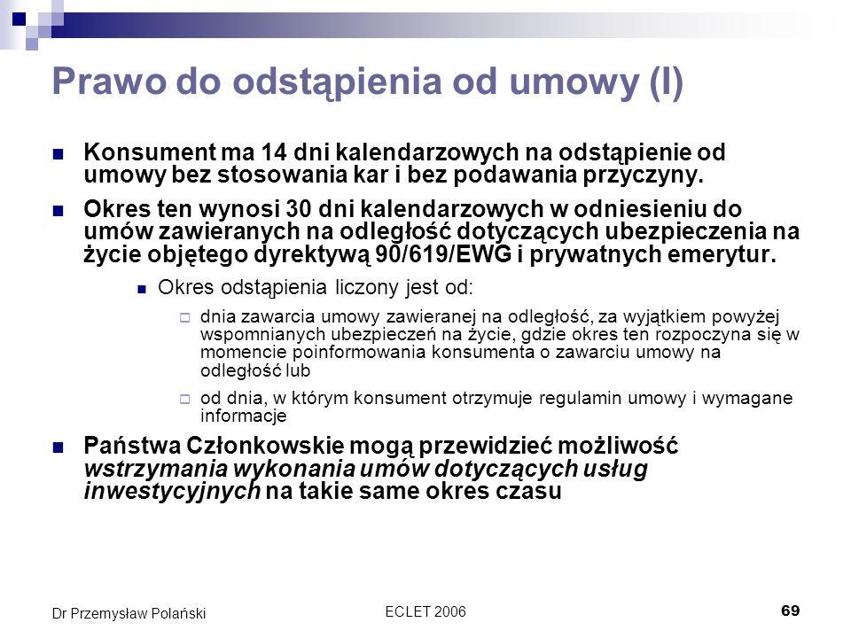 Prawo do odstąpienia od umowy (I)
