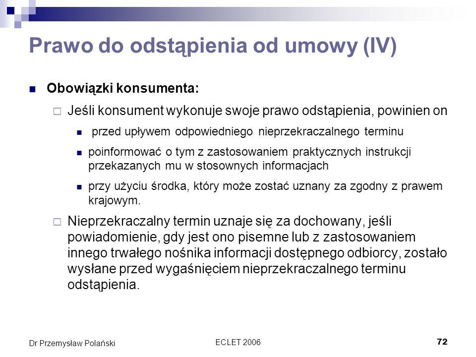 Prawo do odstąpienia od umowy (IV)