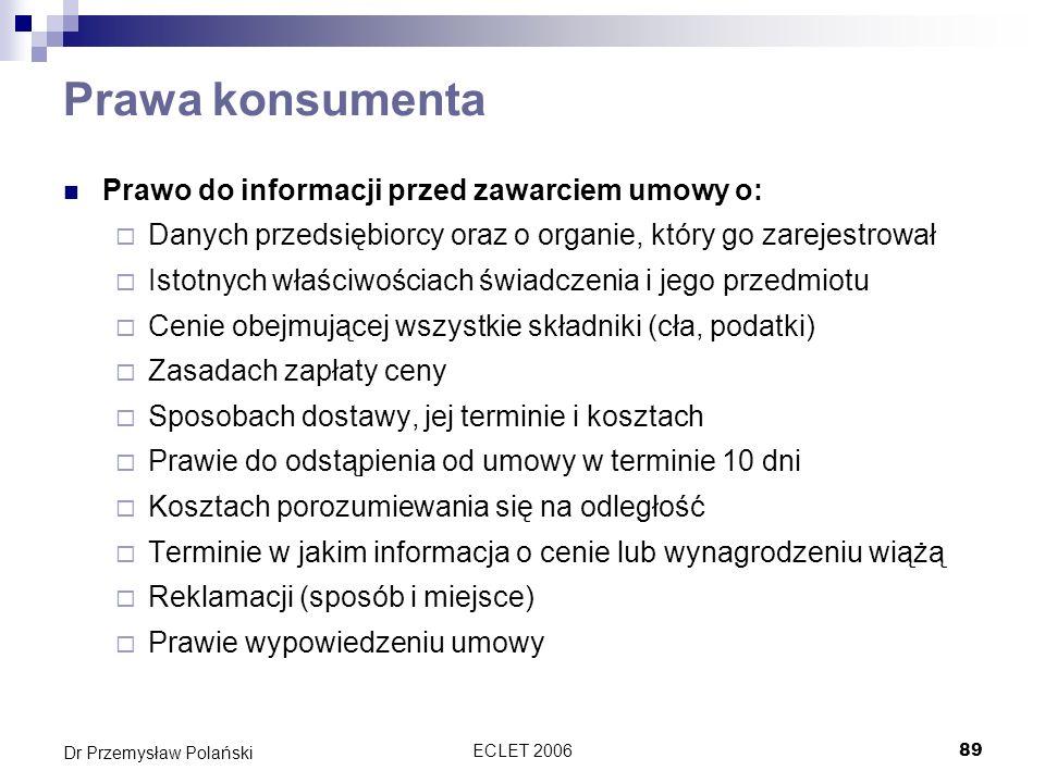 Prawa konsumenta Prawo do informacji przed zawarciem umowy o: