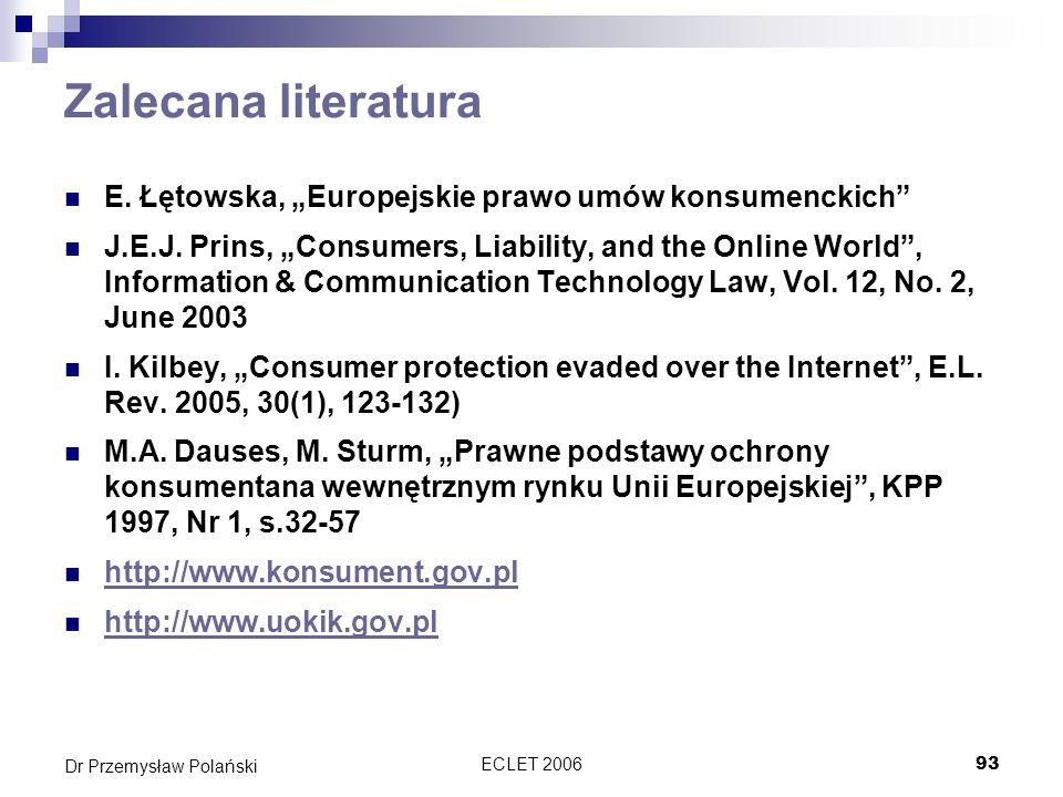 """Zalecana literatura E. Łętowska, """"Europejskie prawo umów konsumenckich"""