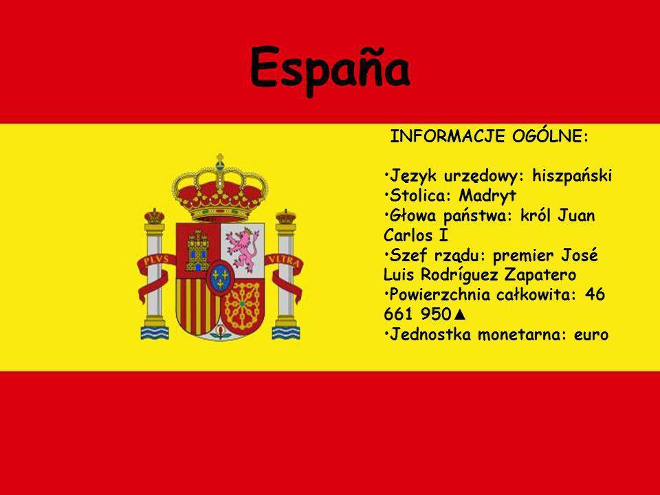 España INFORMACJE OGÓLNE: Język urzędowy: hiszpański Stolica: Madryt