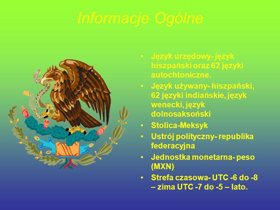 Informacje Ogólne Język urzędowy- język hiszpański oraz 62 języki autochtoniczne.