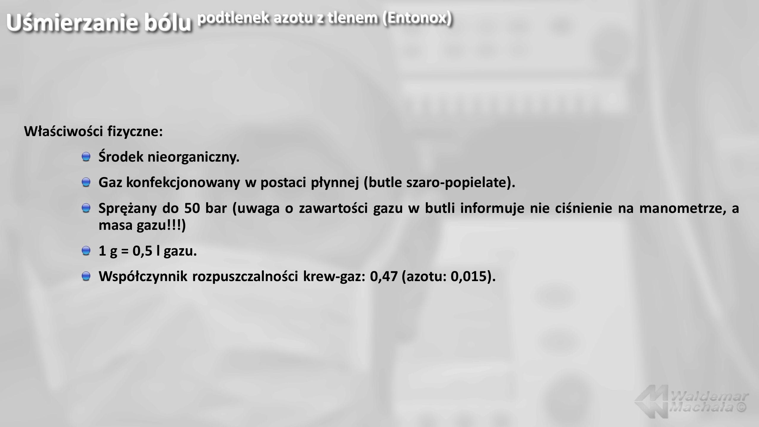 Uśmierzanie bólu podtlenek azotu z tlenem (Entonox)