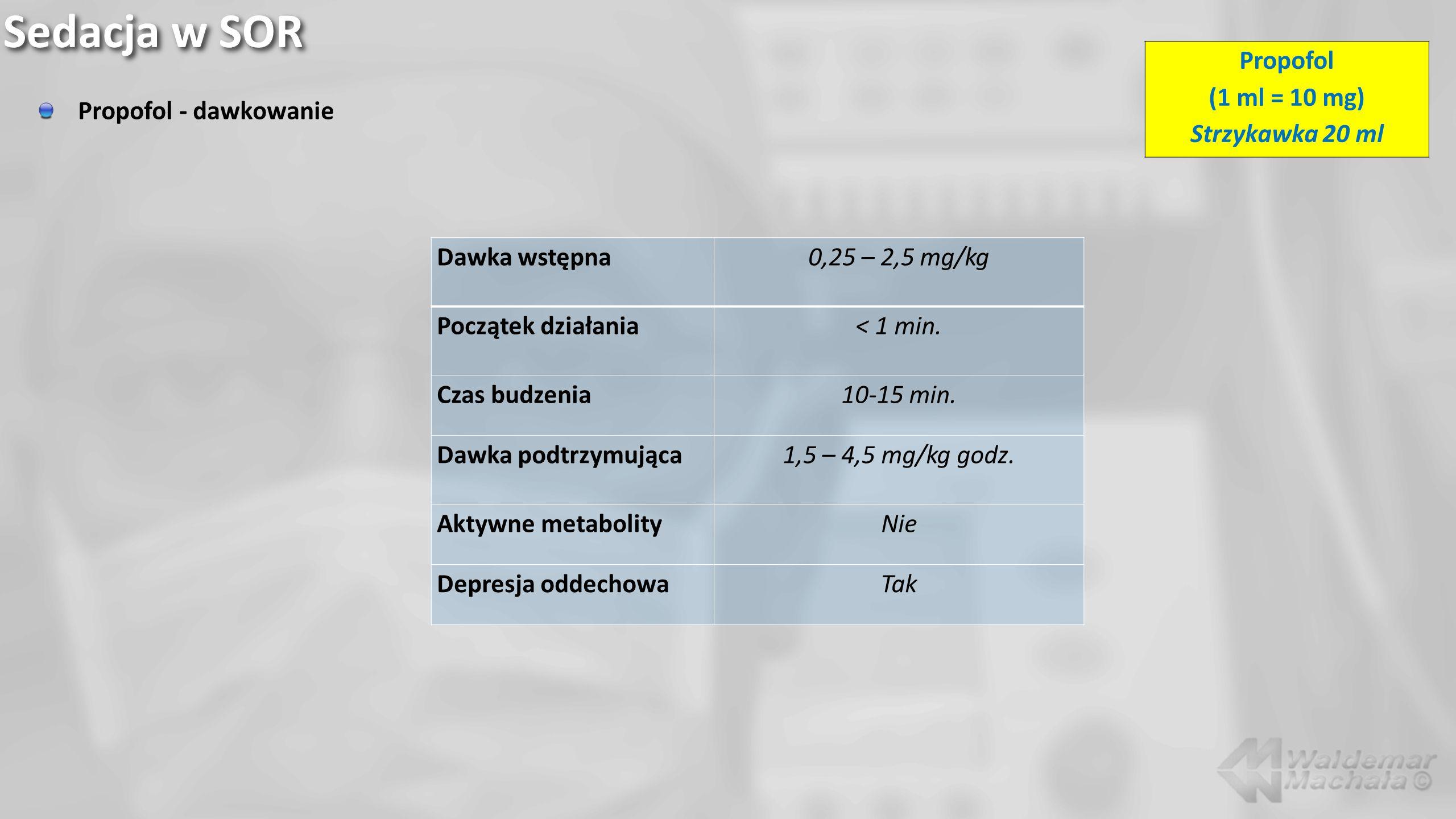 Sedacja w SOR Propofol (1 ml = 10 mg) Strzykawka 20 ml