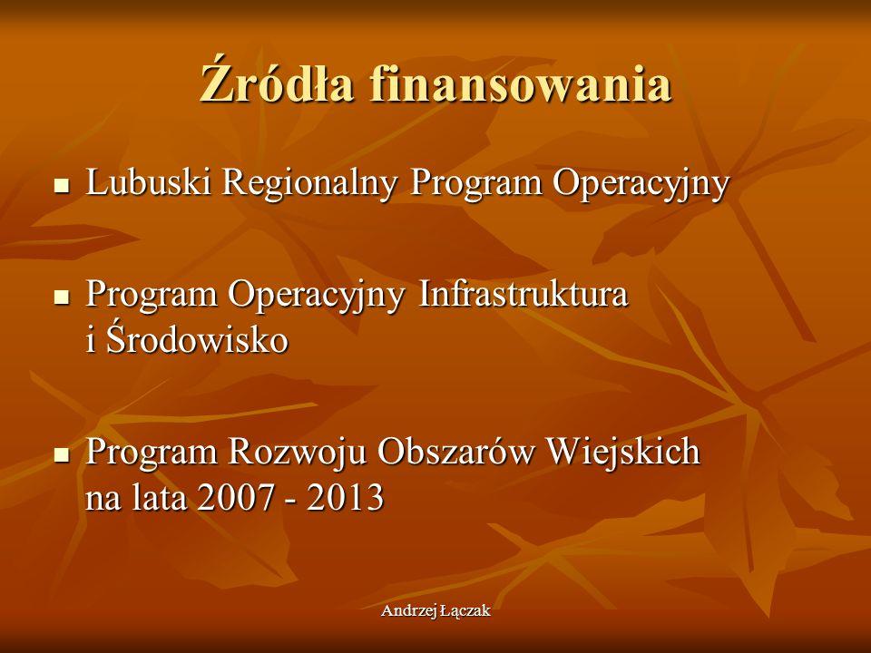 Źródła finansowania Lubuski Regionalny Program Operacyjny