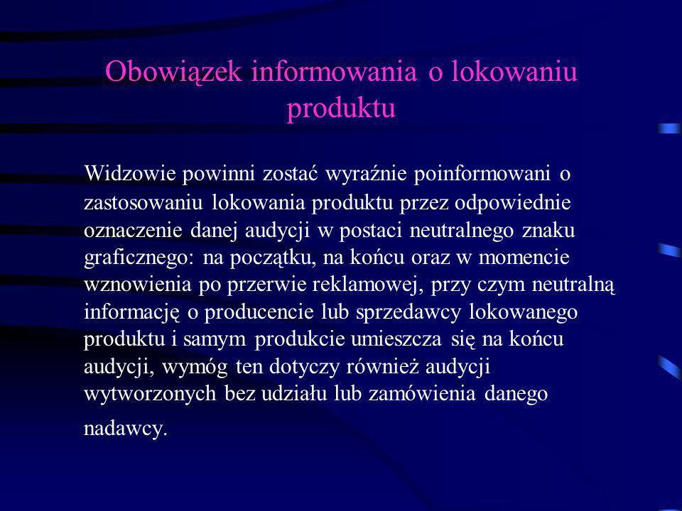 Obowiązek informowania o lokowaniu produktu