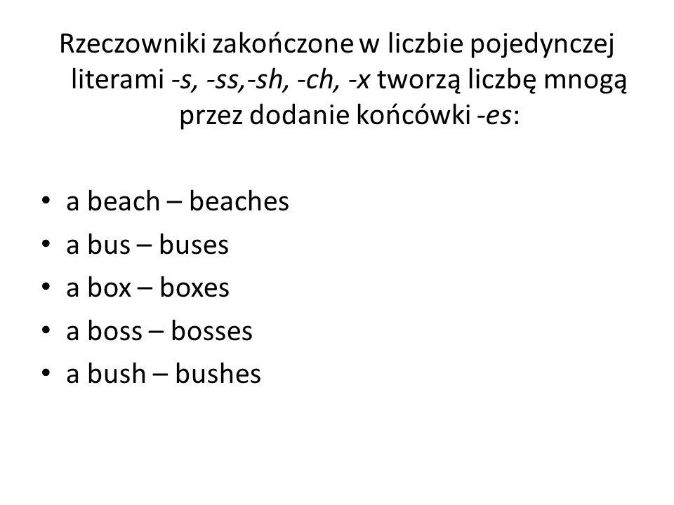 Rzeczowniki zakończone w liczbie pojedynczej literami -s, -ss,-sh, -ch, -x tworzą liczbę mnogą przez dodanie końcówki -es: